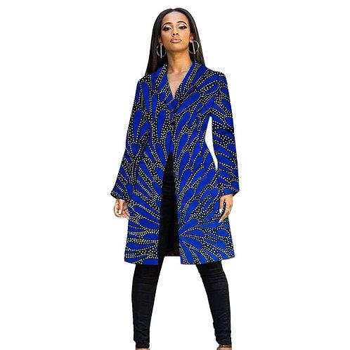femme longue veste col tailleur femmes manteau  Style nigérian