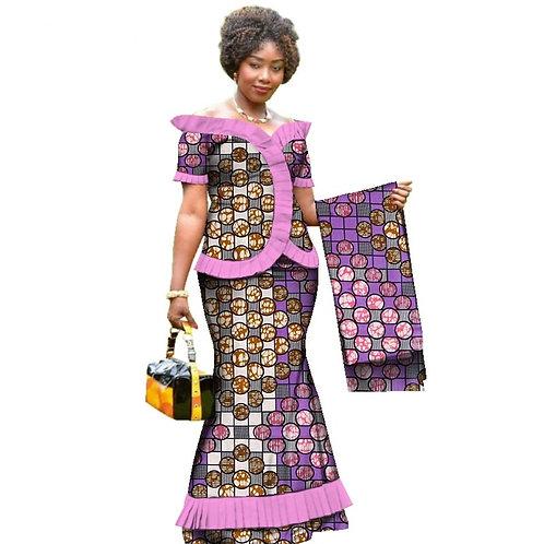 Femme Vintage Africain Drapé Tops et Jupe Ensembles avec Tête Wrap ref02