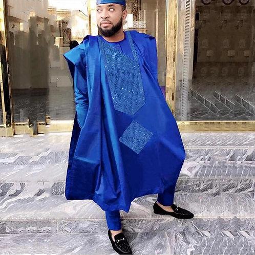 homme mode africains brodé hauts et pantalons 3 pièces agbada costume à manches