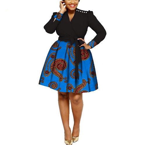 Femmes Africaines Sexy robe avec col en v Africain Cire Impression Coton ref2