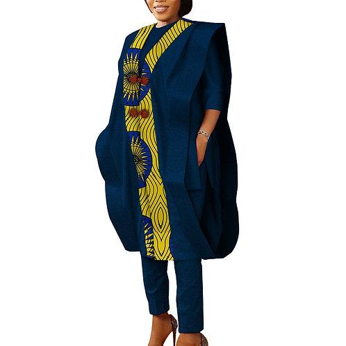 femme africain chemise+ haut large+pantalon ensembles 3ps  Bazin conception afro