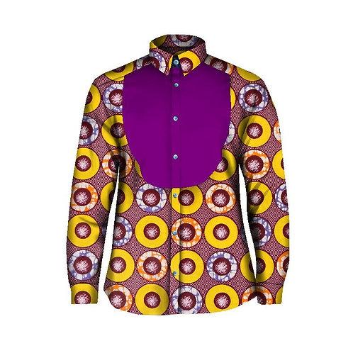 Personnalisé hommes chemises à manches longues col Mandarin impression Dashiki