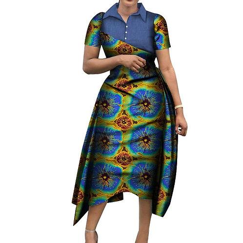 obe femme africaine 2020 Denim & tissu imprimé cire robes Bazin  mi-mollet