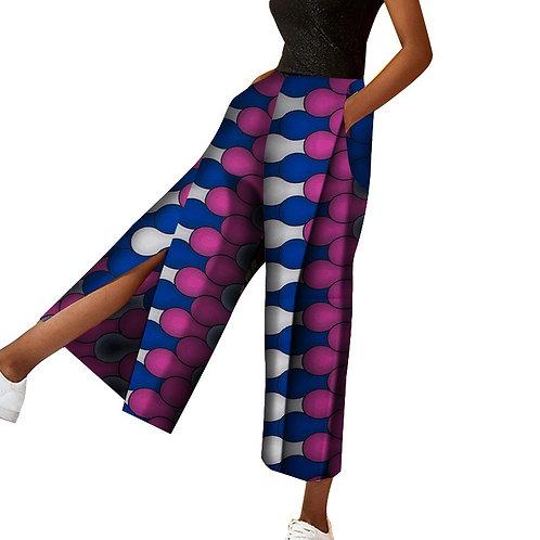 Pantalon africain à jambes larges pantalon de poche imprimé africain