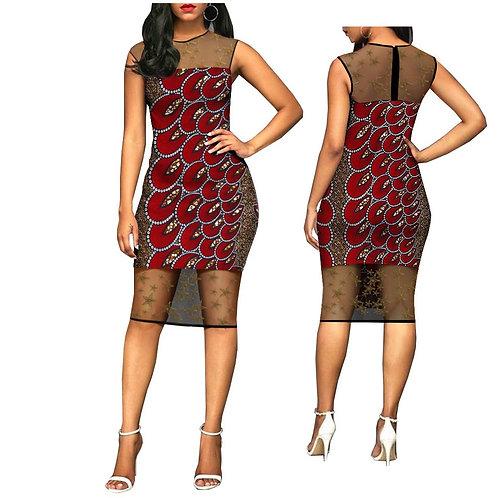 Femme sans manches genou longueur cire coton et dentelle