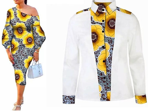 couple assorti flore chemise et robe africaine style