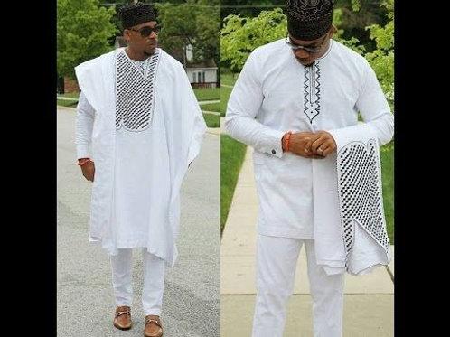 homme agbada tops chemise pantalon 3 pièces ensemble broderie blanc africain