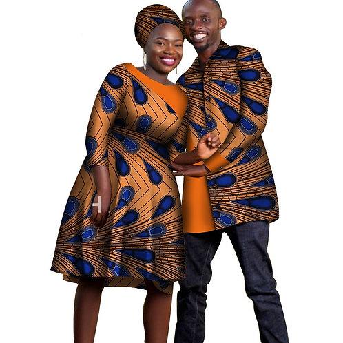 ensemble Dashiki Couples Africain Robes pour Femmes +chemise longue pour homme 2