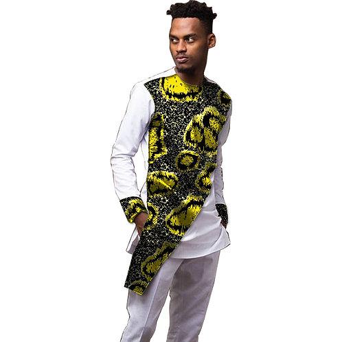 Homme patchwork ensemble chemises + pantalon africain Ankara