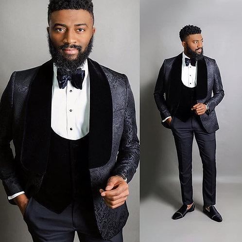 Homme ensemble Jacquard Jacket Men Suit Slim Custom Made Wedding Groom
