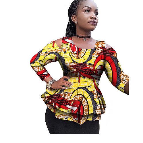femme Haut afro dashiki style épaule  ouverte CL1