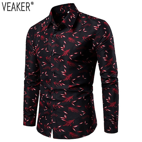 New Men's Printed Shirts Male Slim Fit Long Sleeve Floral