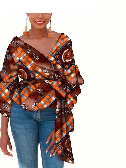 femme ankara manteau imprimé privé personnalisé pur coton col enV