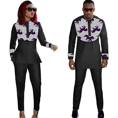 Couple africain tenue femmes ensembles + hommes chemises Ankara tenue
