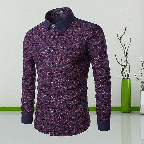 chemise homme flore manche color dur