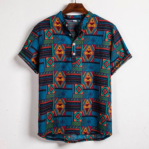 homme  Hawaiian Summer Ethnic Short Sleeve Shirt Casual Cotton Linen