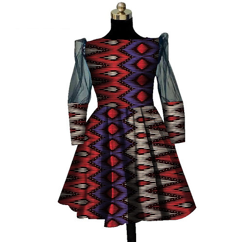 Africaine Robes courte Pour Femmes  Wax dentelle  ref02