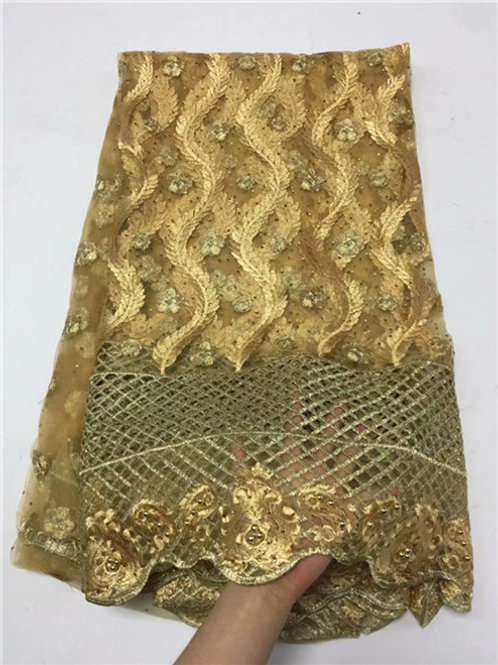 New Embroidery African Net Lace Fabric