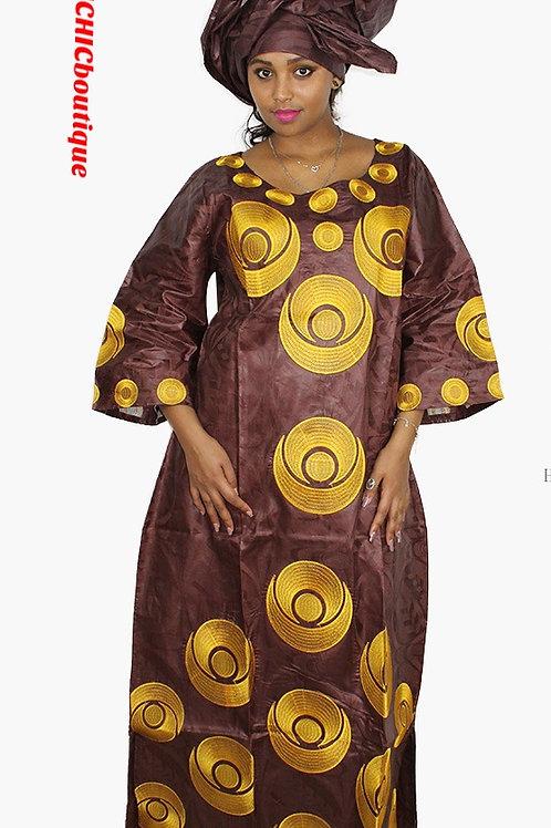 femme africain bazin riche broderie conception  robe avec écharpe deux pcs