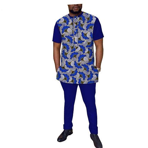 hommes sur mesure manches courtes haut simple boutonnage + pantalon ref richic