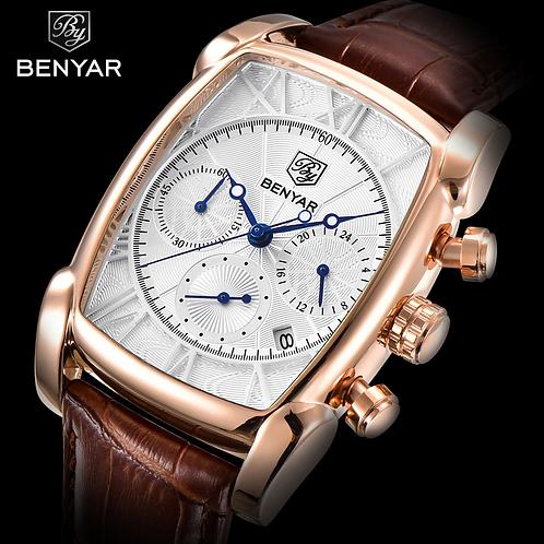 hommes montres haut de gamme marque benyar chronographe Quartz- en cuir