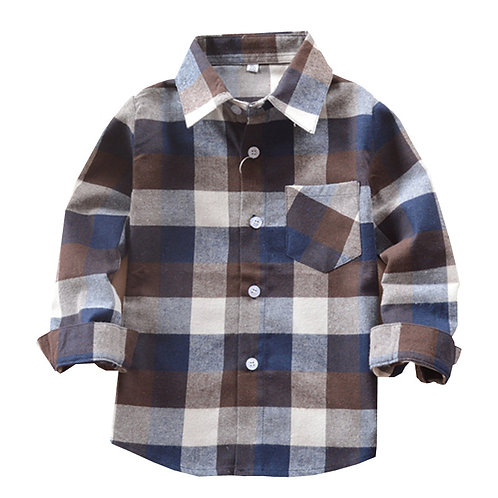 Garçons Chemises Classique Casual Plaid Flanelle