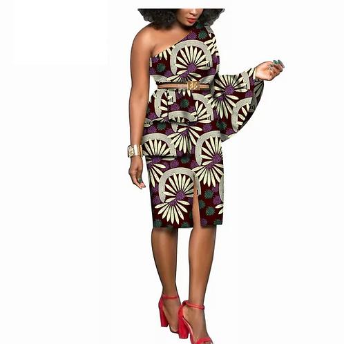 Robe africaine pur coton épaule unique Lotus manches bazin riche ankara imprimer