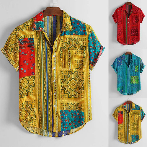 Mens Vintage Ethnic Printed Turn Down Casual Shirts 2020 Slim Fit