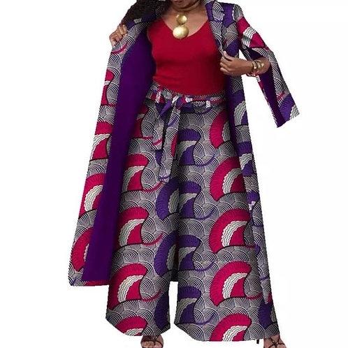 femmes ensemble costume  Long manteau et pantalon large avec ceinture automne