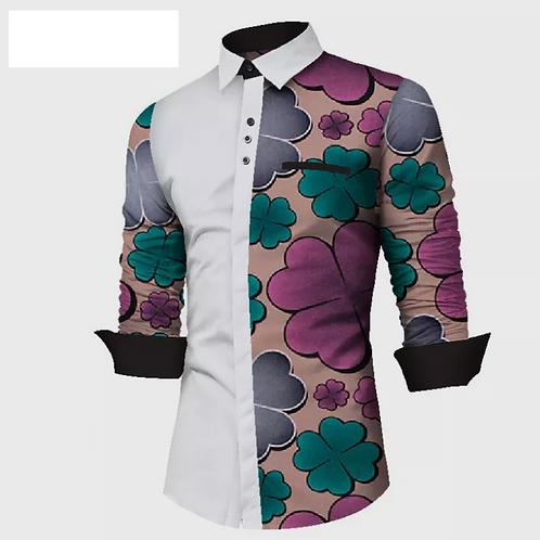 hommes mode imprimé africain et blanc Patchwork vêtements WY