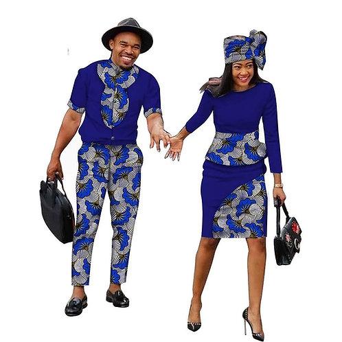 Couple africain tenus femmes robes + hommes ensemble  Dashiki chemise et pantal