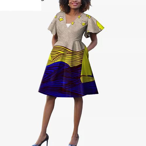 femme robe d'été traditionnel impression Stand cou V pour dame WYf