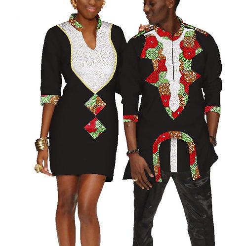 êtements pour les couples robe de mariage et t-shirt homme dashiki couple ref02