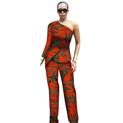 femme 2 pièces ensemble africain haut épaule hauts et pantalon refE2