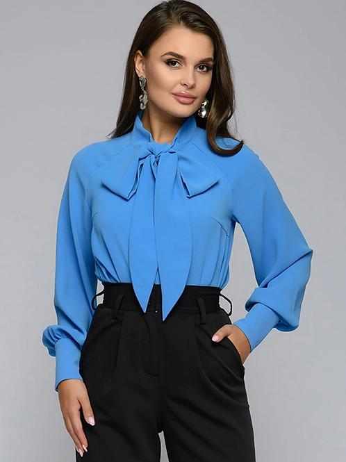 Femme chemise nœud papillon cou Blouse automne à manches longues décontracté