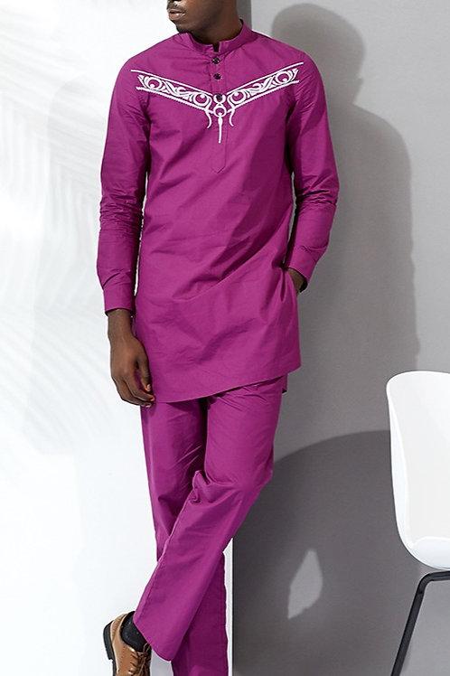homme 2pièces ensemble couture cire matériel coton africain