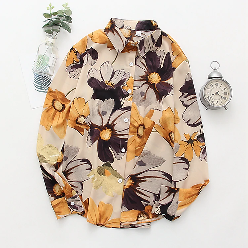 femme chic chemise flore imprimé ref02F