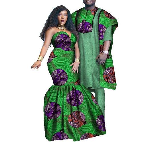 Couple africain  costume agbada 3pieces et robe  decolté longue