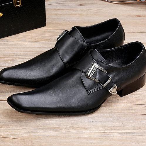 cuir véritable boucle en métal hommes chaussures habillées de mariage