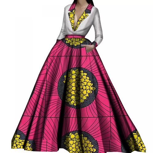 femme à manches longue col V profond  africains plissés taille haute montré Slim