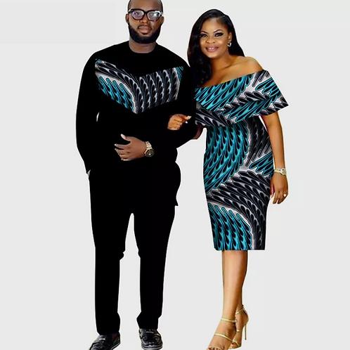 Ensemble 3pièces africain Dashiki imprimer Couple vêtements pour amoureux