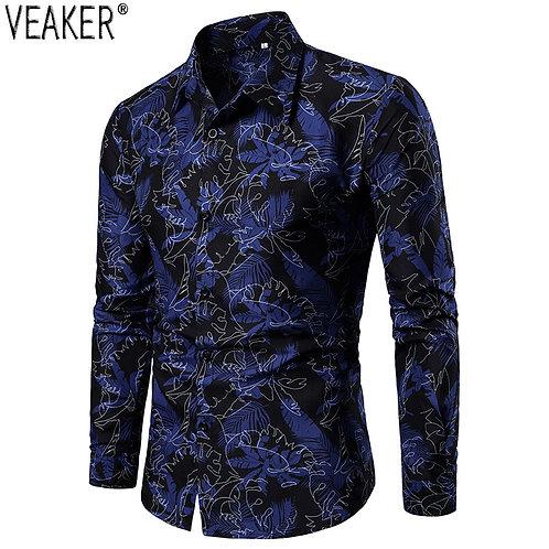 Men's Slim Shirt Male Shirts Floral Print Casual Business