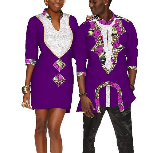 êtements pour les couples robe de mariage et t-shirt  homme dashiki couple Ref1