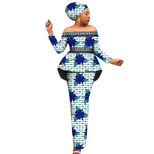 3pièces femmes sur mesure Slash cou haut + jupe  longue et foular