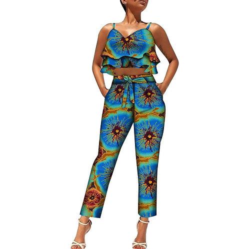 2 pièces ensemble femmes costumes africain imprimé demi hauts et pantalons