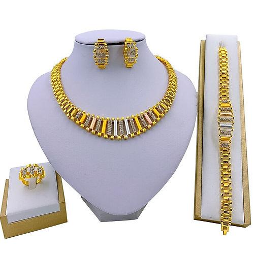 ensemble bijoux boucles d'oreilles collier bracelet bague  couleur or