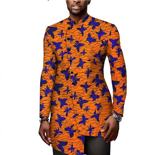 homme chemise sur mesure a manche à bouton unique 100% coton cire africa