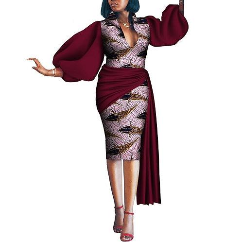 femme robe de soirée   crayon robe traditionnelle bicolore Ankara