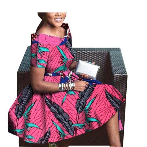 femmes africaine privé personnalisé à manches courtes v-cou mi-molle