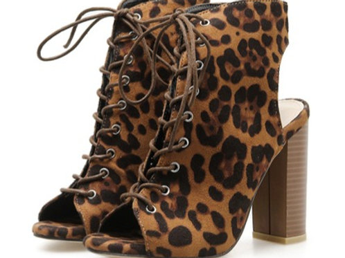 femmes bottes bottines léopard Grain Peep Toe à lacets évider